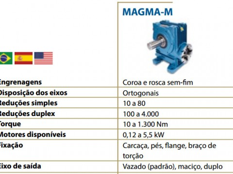 TIPOS DE - REDUTORES - MAGMA M-1